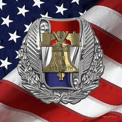 Digital Art - Army Recruiting Command -  U S A R E C  Crest Over Flag by Serge Averbukh