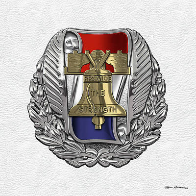 Digital Art - Army Recruiting Command -  U S A R E C  Crest Over White Leather by Serge Averbukh