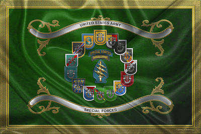 Digital Art - Army Special Forces  -  S F  Patch With  S F  Groups Flashes Over Flag by Serge Averbukh