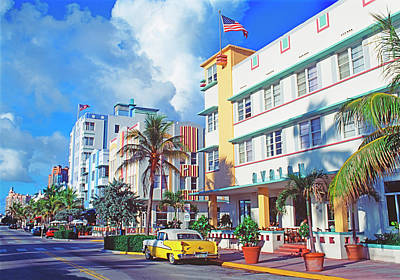 City Photograph - Art Deco Buildings On Ocean Drive by Mitchell Funk