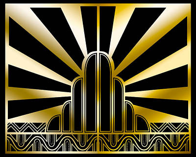 Digital Art - Art Deco Poster 2019 Wide by Chuck Staley