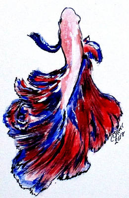 Painting - Art Doodle No. 32 Betta Fish by Clyde J Kell