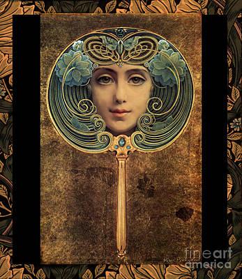 Art Nouveau Handheld Mirror Art Print