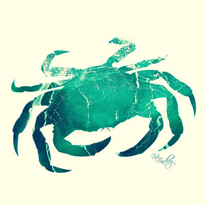 Digital Art - Art Sea Crab In Seagreen by Micki Findlay