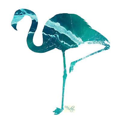 Digital Art - Art Sea Flamingo In Turquoise by Micki Findlay