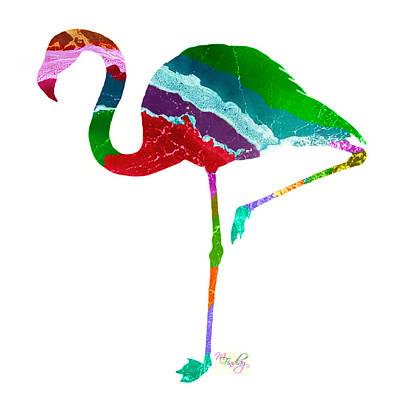 Digital Art - Art Sea Flamingo - Multicoloured by Micki Findlay