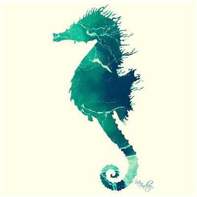 Digital Art - Art Sea Seahorse In Seagreen by Micki Findlay