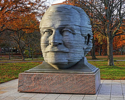Photograph - Arthur Fiedler Statue Charles River Boston Ma In The Fall by Toby McGuire
