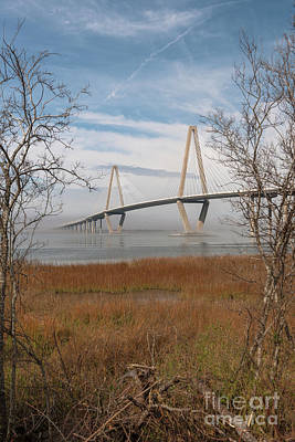 Photograph - Arthur Ravenel Jr. Bridge - Winter Fog by Dale Powell