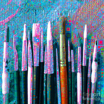 Photograph - Artists Brushes In Abstract Squares 20189218 V1 Square M98 by Wingsdomain Art and Photography