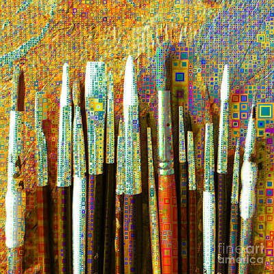 Photograph - Artists Brushes In Abstract Squares 20189218 V1 Square P108 by Wingsdomain Art and Photography