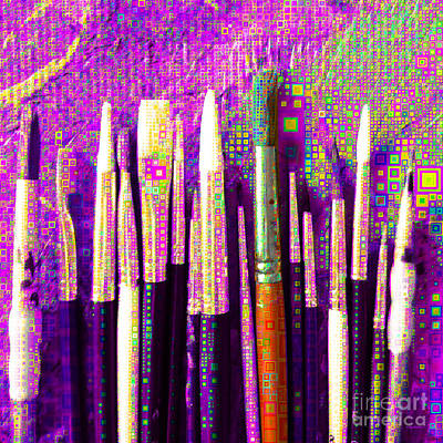 Photograph - Artists Brushes In Abstract Squares 20189218 V1 Square by Wingsdomain Art and Photography