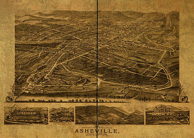 Asheville Wall Art - Mixed Media - Asheville North Carolina Vintage City Street Map 1891 by Design Turnpike