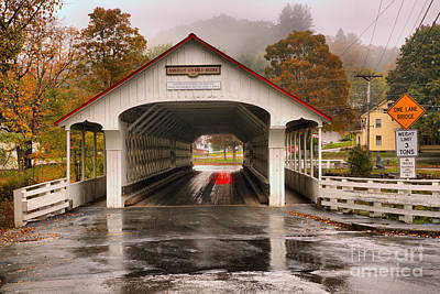 Photograph - Ashuelot Covered Bridge Foggy Afternoon by Adam Jewell