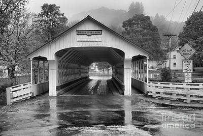 Photograph - Ashuelot Covered Bridge Foggy Afternoon Black And White by Adam Jewell