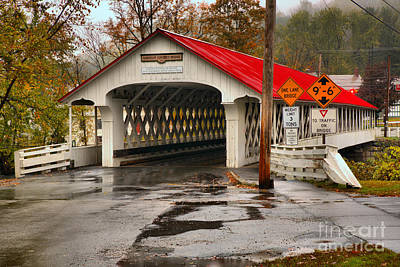 Photograph - Ashuelot Covered Bridge In The Rain by Adam Jewell