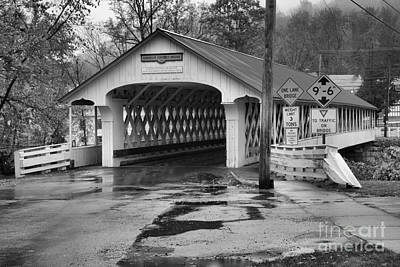 Photograph - Ashuelot Covered Bridge In The Rain Black And White by Adam Jewell