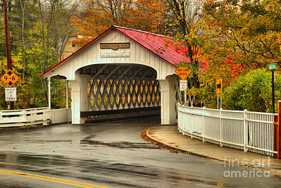 Photograph - Ashuelot Covered Bridge Rainy Fall Day by Adam Jewell