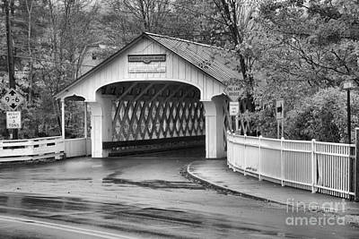Photograph - Ashuelot Covered Bridge Rainy Fall Day Black And White by Adam Jewell