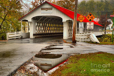 Photograph - Ashuelot Covered Bridge Reflections by Adam Jewell