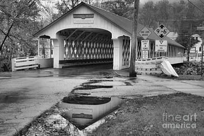 Photograph - Ashuelot Covered Bridge Reflections Black And White by Adam Jewell
