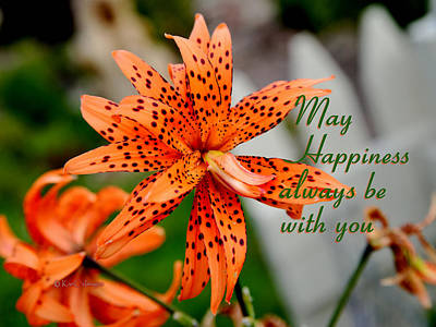 Photograph - Asian Tiger Lily With Cheery Thought by Kae Cheatham
