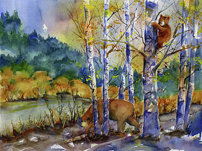 Painting - Aspen Bears At Emmigrant Gap by Joan Chlarson