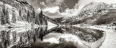 Landscapes Royalty-Free and Rights-Managed Images - Aspen Colorado Maroon Bells Sepia Panoramic Landscape by Gregory Ballos
