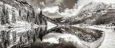 Photograph - Aspen Colorado Maroon Bells Sepia Panoramic Landscape by Gregory Ballos