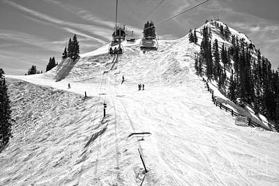Photograph - Aspen Highlands Loge Peak Lift Black And White by Adam Jewell
