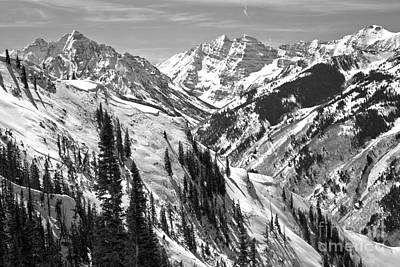 Photograph - Aspen Highlands Maroon Bells Viewpoint Black And White by Adam Jewell