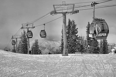 Photograph - Aspen Mountain Gondola In Motion Black And White by Adam Jewell