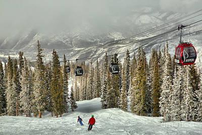 Photograph - Aspen Skiers Under The Gondola by Adam Jewell