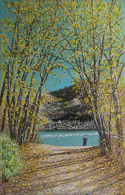 Painting - Aspen Trees And Fisherman by Tommy Midyette