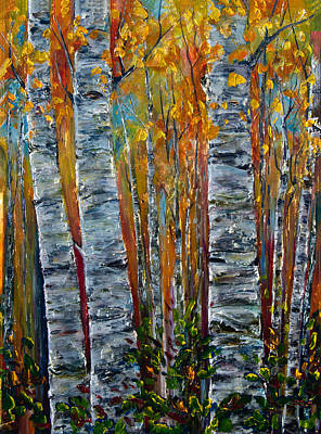 Art Print featuring the photograph Aspen Trees By Olena Art by OLena Art