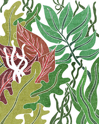 Mixed Media Rights Managed Images - Assortment of Leaves 1 - Exotic Boho Leaf Pattern - Colorful, Modern, Tropical Art - Green, Red Royalty-Free Image by Studio Grafiikka