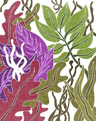Mixed Media Rights Managed Images - Assortment of Leaves 3 - Exotic Boho Leaf Pattern - Colorful, Modern, Tropical Art - Olive, Violet Royalty-Free Image by Studio Grafiikka