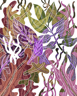Mixed Media Rights Managed Images - Assortment of Leaves 4 - Exotic Boho Leaf Pattern - Colorful, Modern, Tropical Art - Purple, Brown Royalty-Free Image by Studio Grafiikka