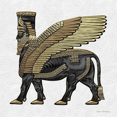 Digital Art - Assyrian Winged Bull - Gold And Black Lamassu Over White Leather by Serge Averbukh