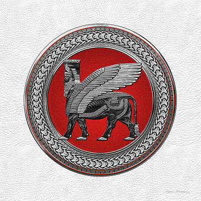 Digital Art - Assyrian Winged Bull - Silver And Black Lamassu On Red Silver Medallion Over White Leather by Serge Averbukh