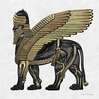 Digital Art - Assyrian Winged Lion - Gold And Black Lamassu Over White Leather by Serge Averbukh