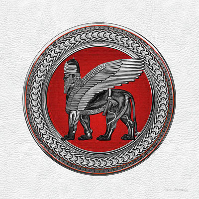 Digital Art - Assyrian Winged Lion - Silver And Black Lamassu On Red And Silver Medallion Over White Leather by Serge Averbukh