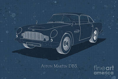 Digital Art - Aston Martin Db5 - Front View - Stained Blueprint by David Marchal