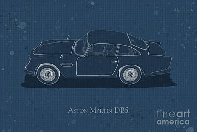 Digital Art - Aston Martin Db5 - Side View - Stained Blueprint by David Marchal