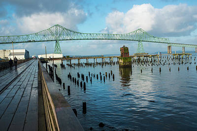 Photograph - Astoria Riverwalk And Bridge by Tom Cochran