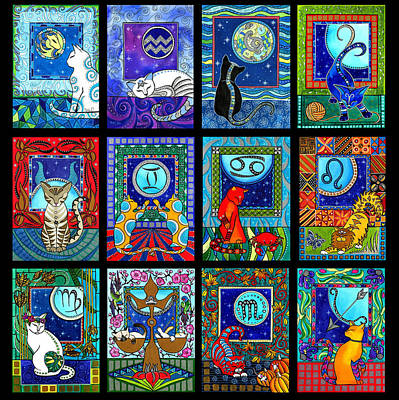 Painting - Astrology Cat Zodiacs by Dora Hathazi Mendes