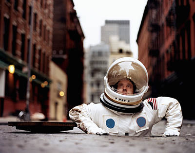 Photograph - Astronaut Coming Out Of Sewer by Mario Lalich