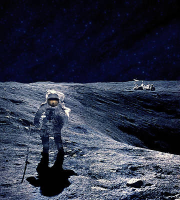Photograph - Astronaut Walking On The Moon by Adastra
