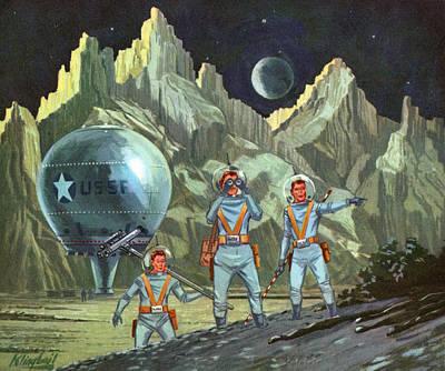 People Digital Art - Astronauts Exploring Planet by Graphicaartis