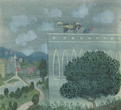 Drawing - At Midnight, The Horse Horse Lands On The Roof Of The Caliph's Castle by Ivar Arosenius